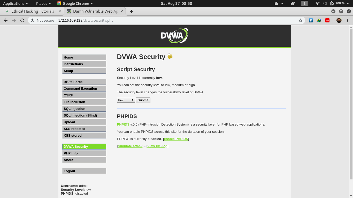 DVWA Low Security Setting