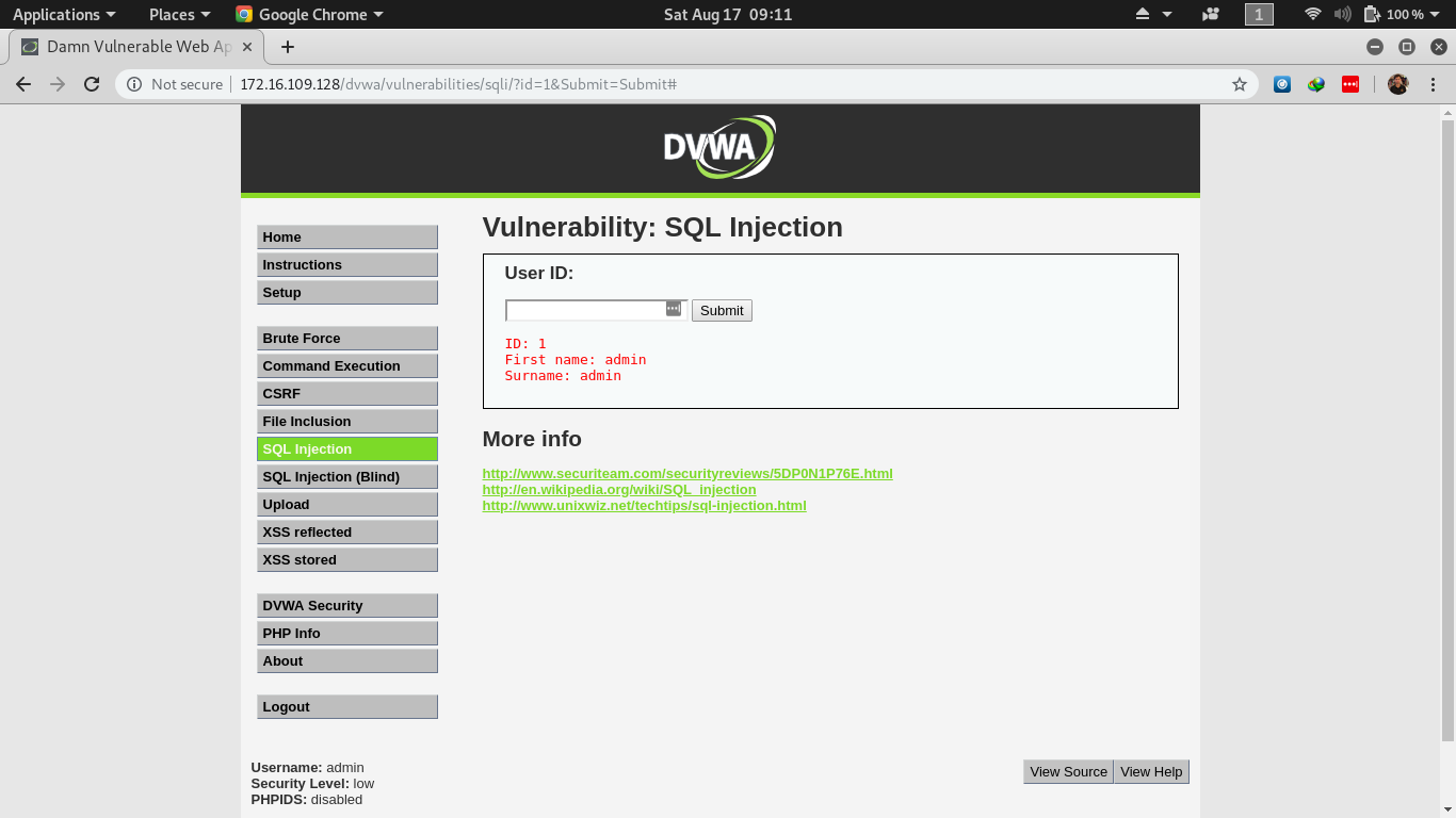 DVWA SQL Injection Vulnerable Form Field