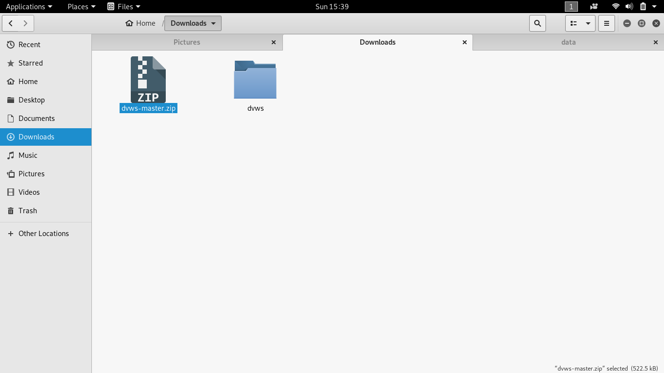 Download DVWS and Extract it to dvws folder
