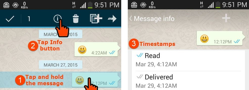 Know the timestamps of message sent status