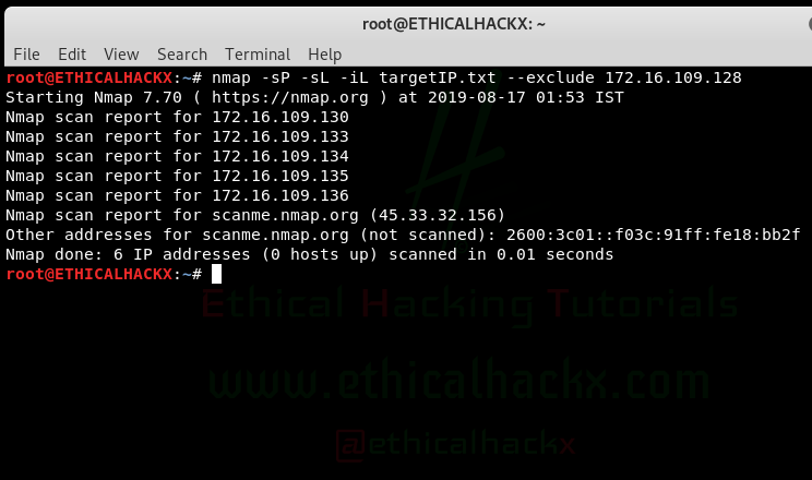 nmap exclude IP Address from scanning