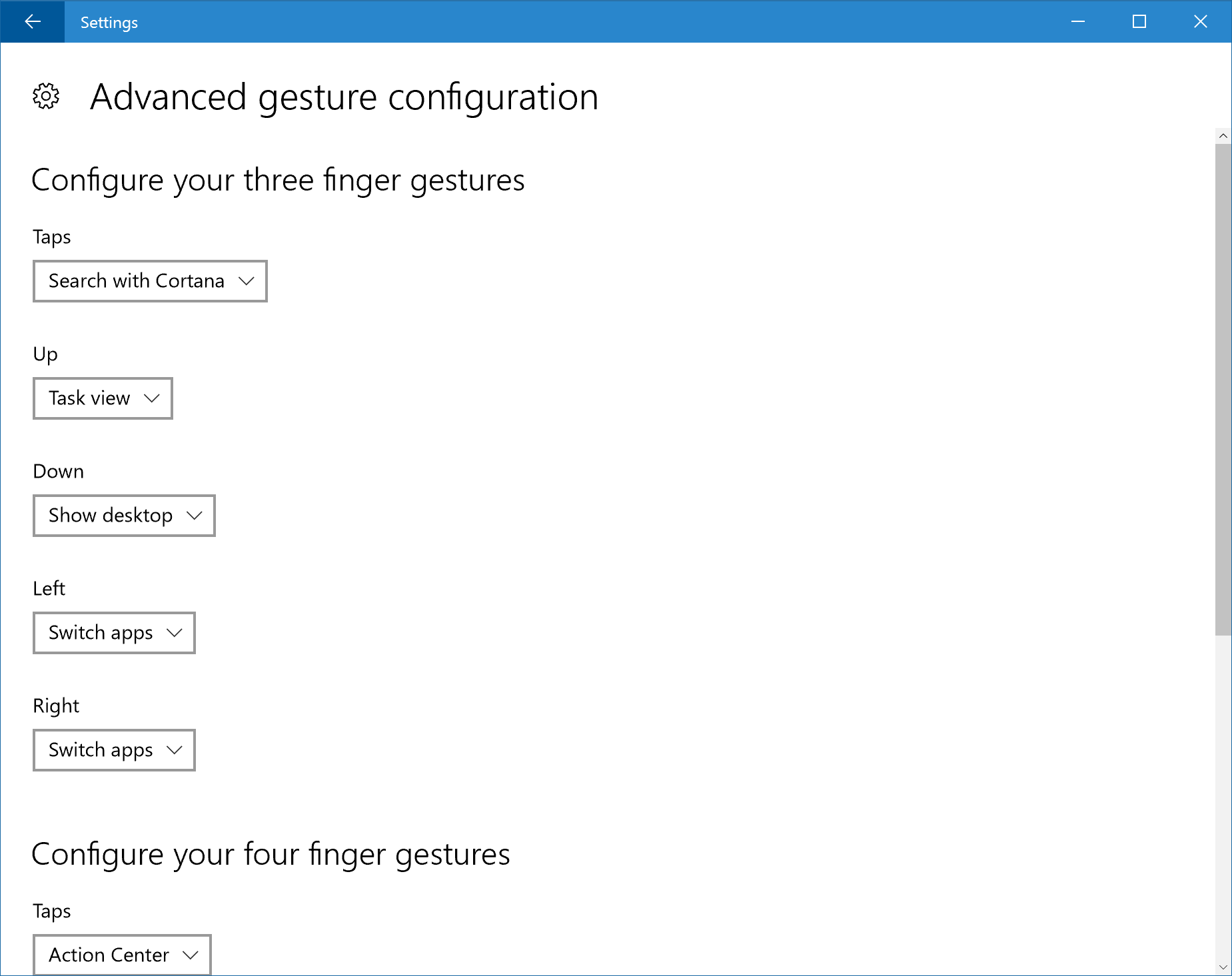 Advanced Gesture Configuration settings page